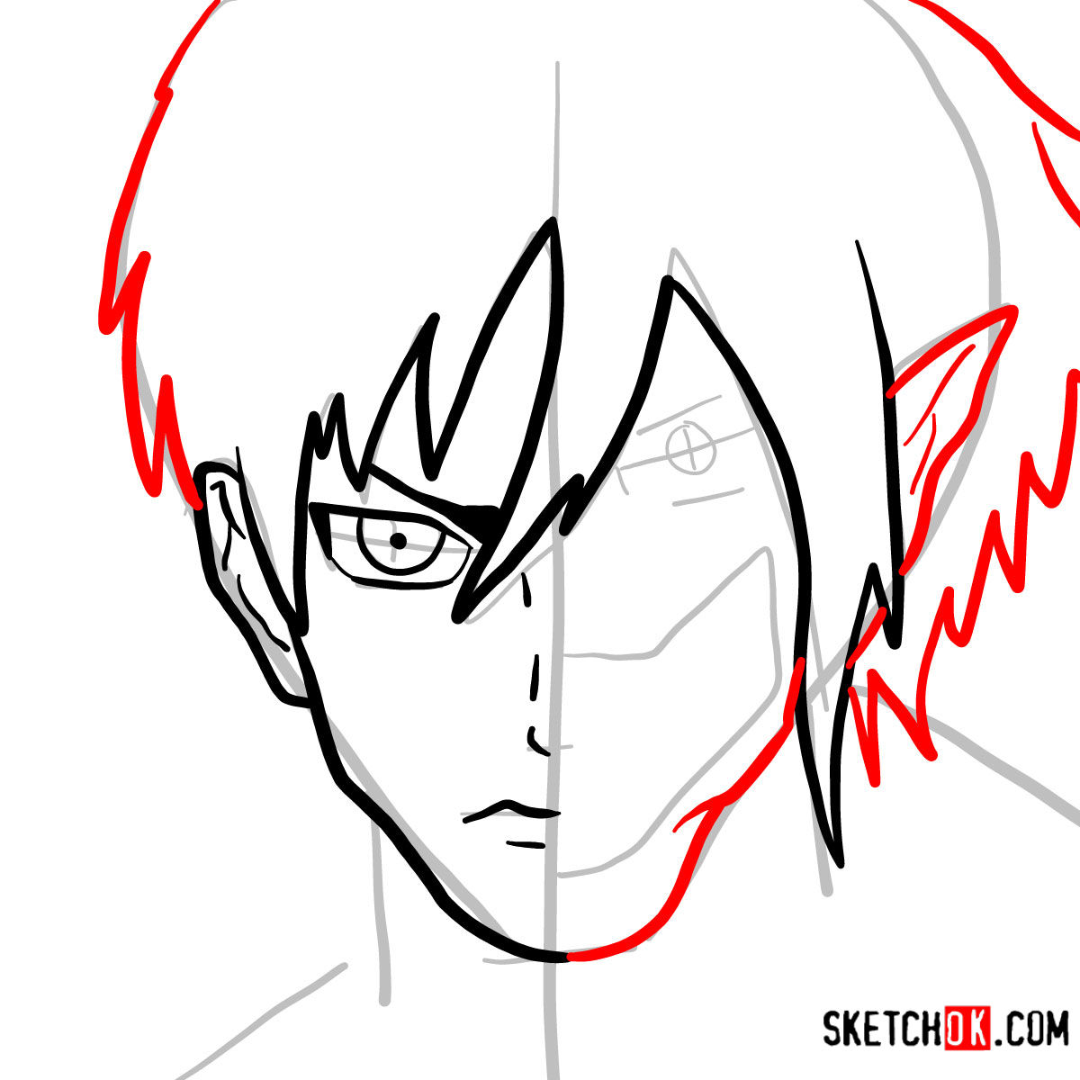 How to draw Eren Jaeger half human half titan - step 06