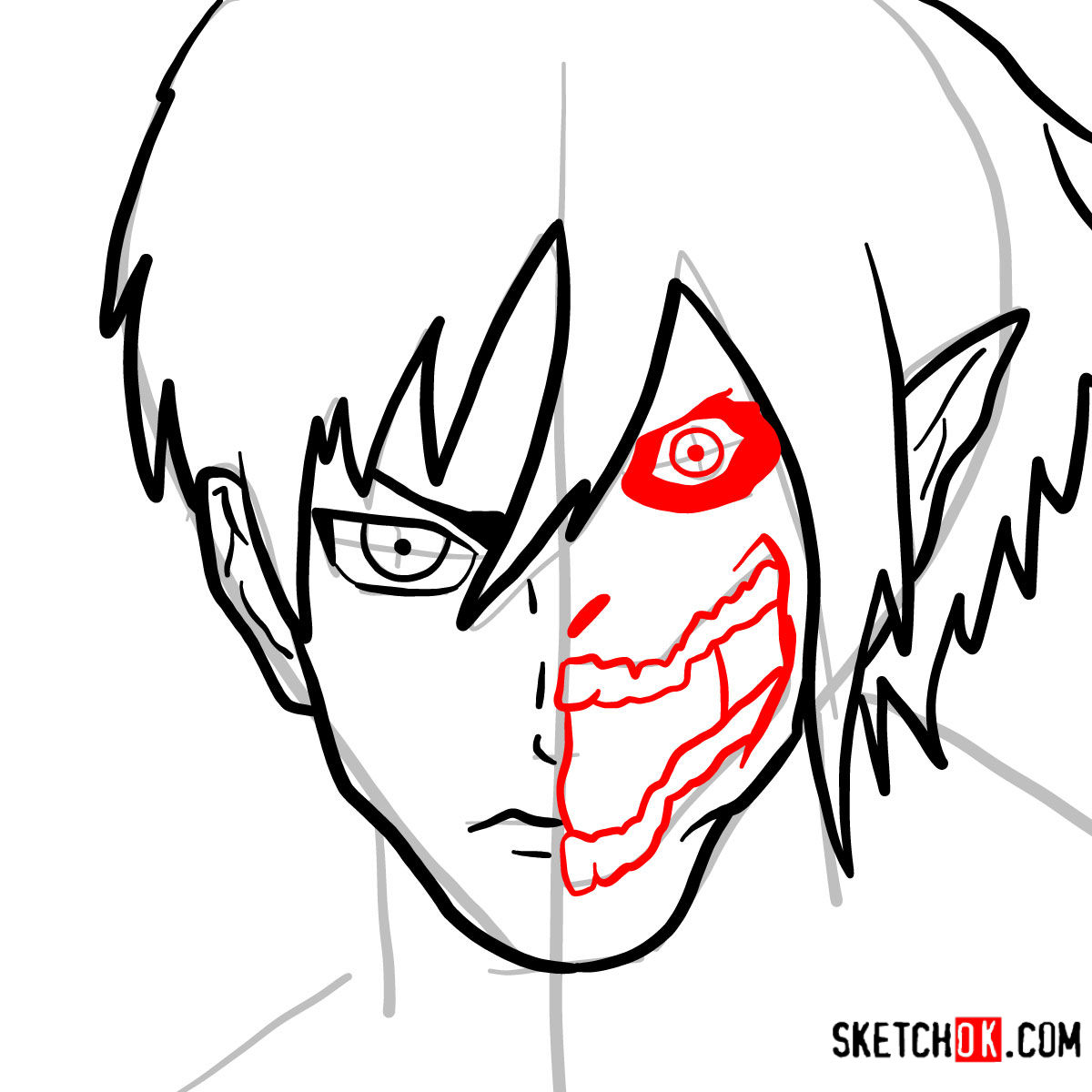 How to draw Eren Jaeger half human half titan - step 07
