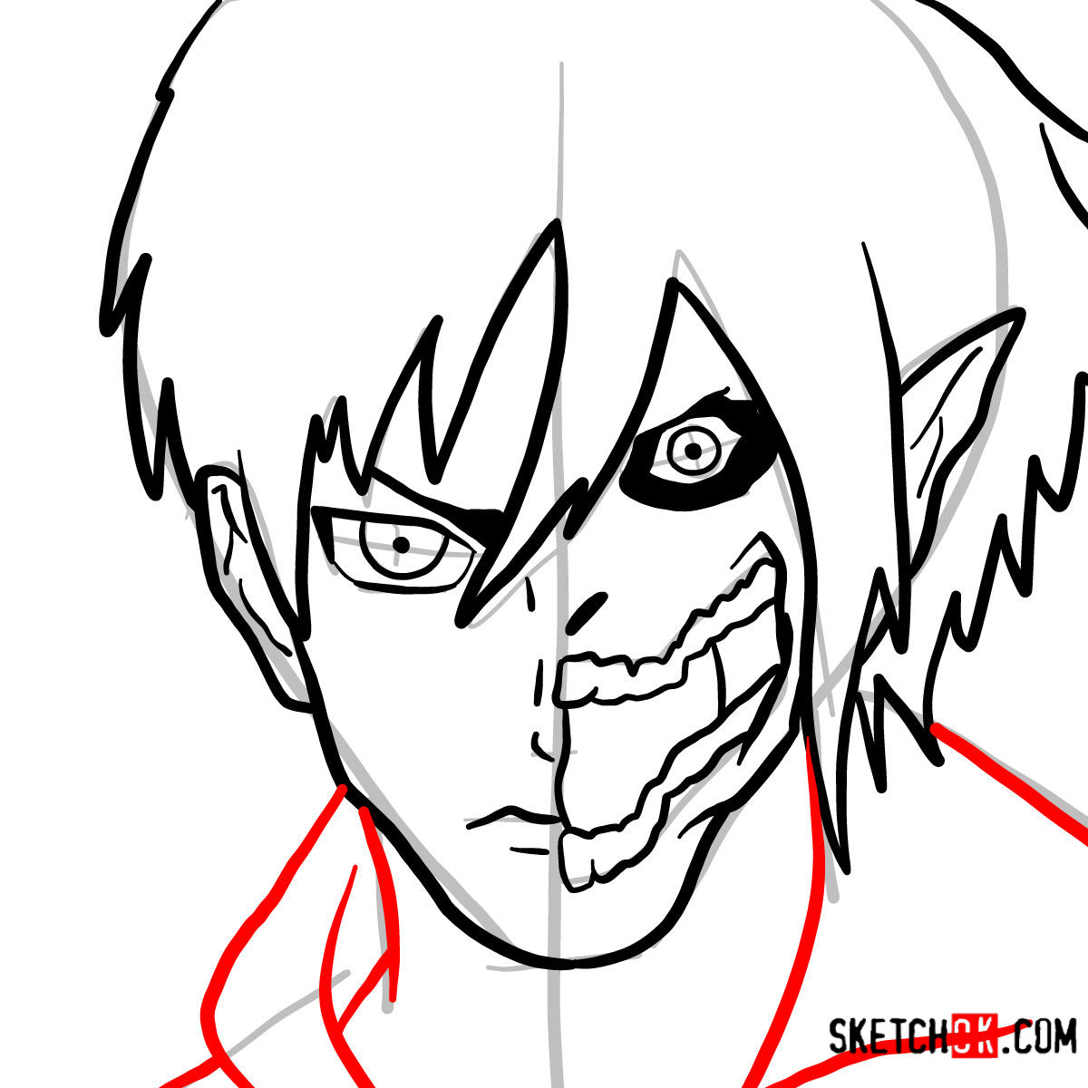 How to draw Eren Jaeger half human half titan - step 08