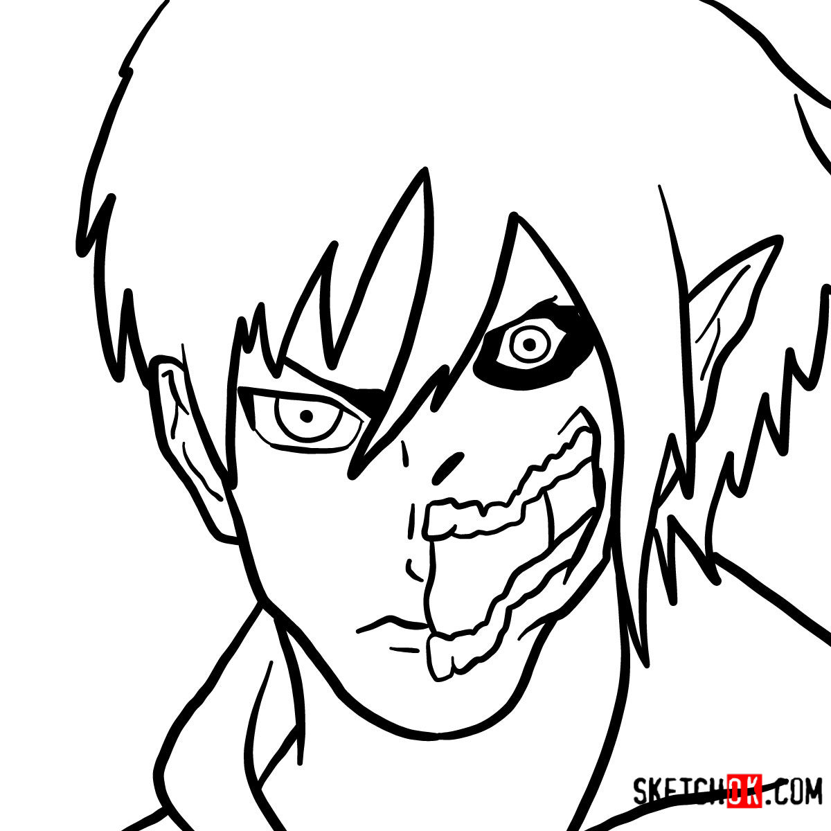 How to draw Eren Jaeger half human half titan