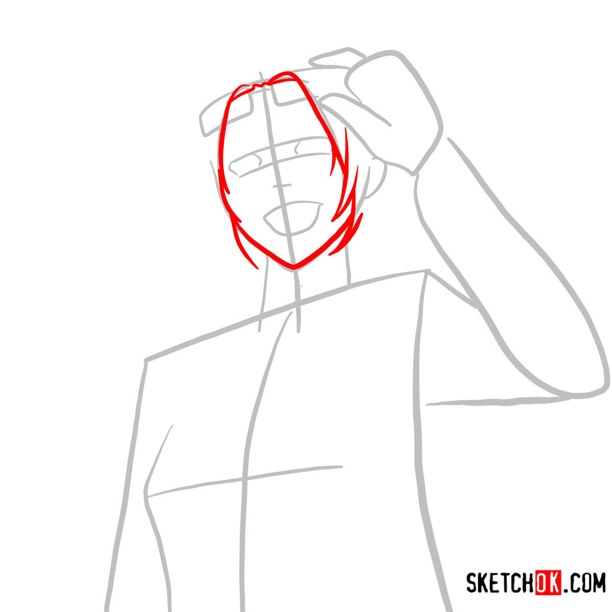 How to draw Hange Zoe   Attack on Titan - step 03