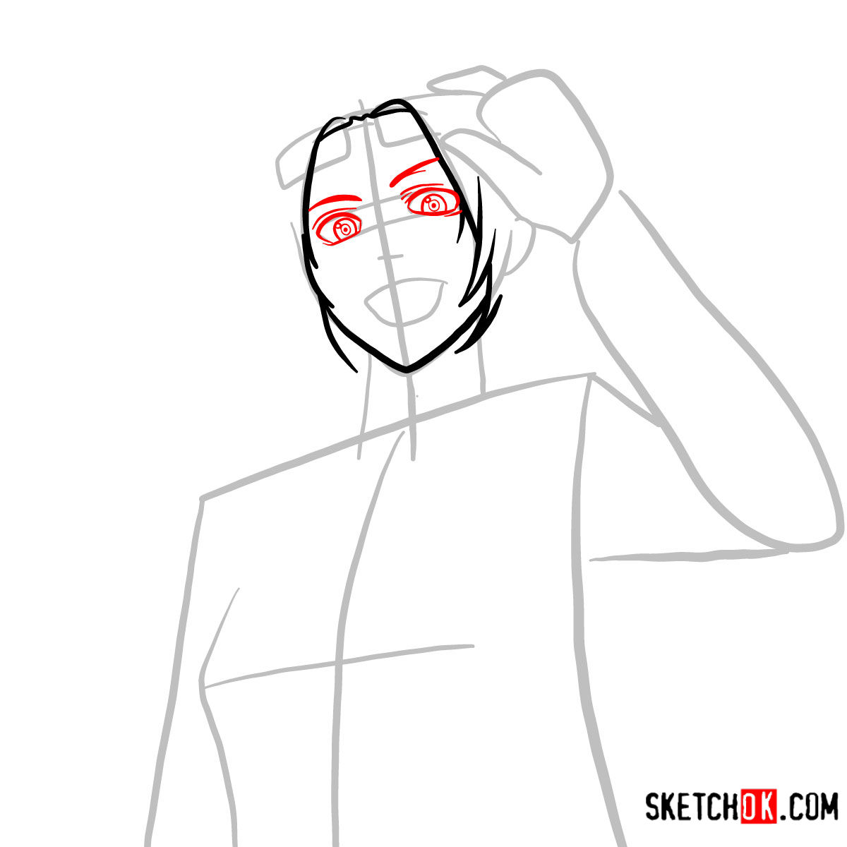How to draw Hange Zoe   Attack on Titan - step 04
