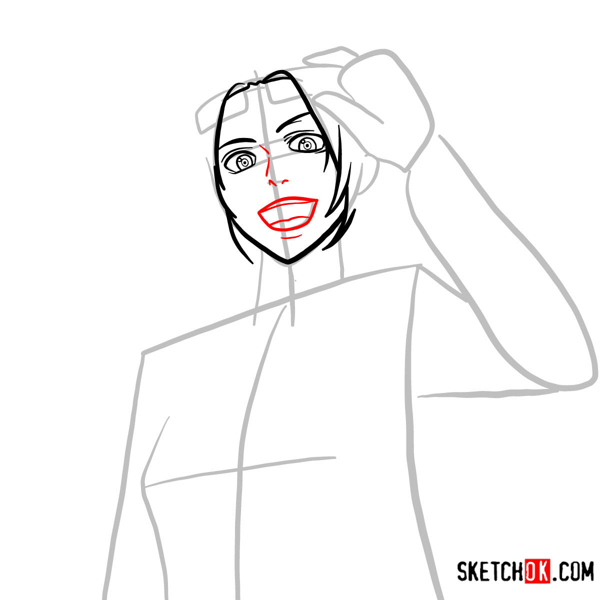 How to draw Hange Zoe   Attack on Titan - step 05