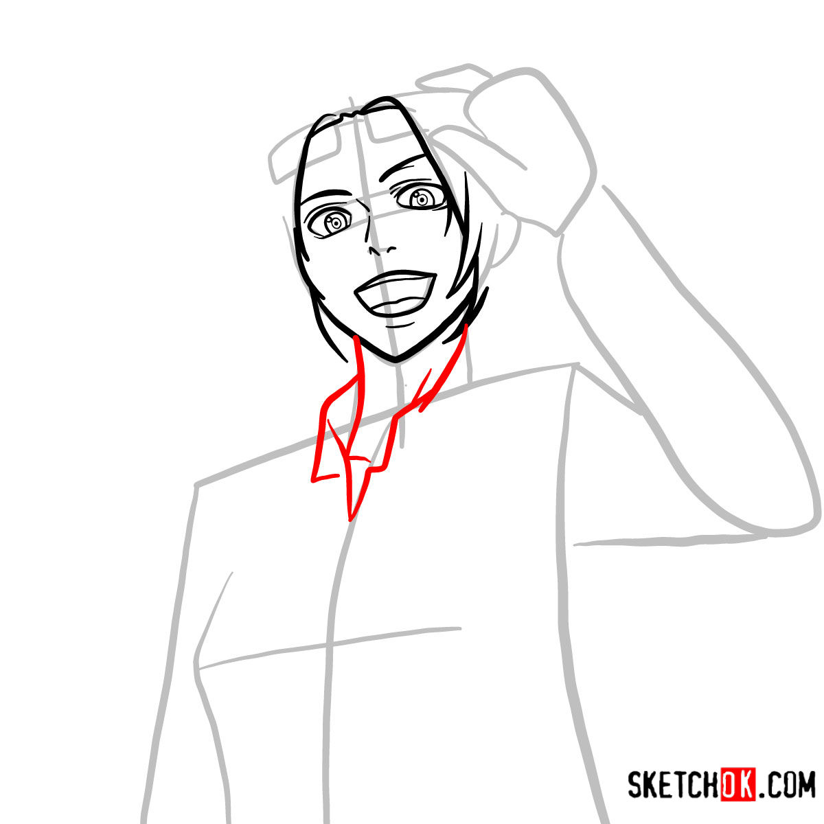 How to draw Hange Zoe   Attack on Titan - step 06