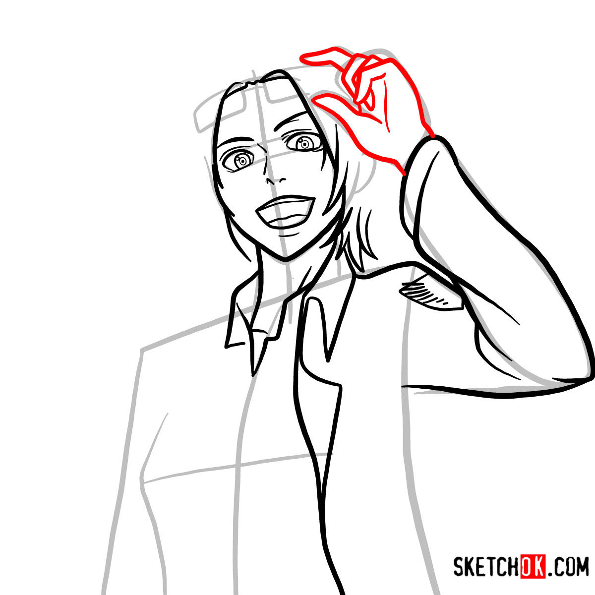 How to draw Hange Zoe   Attack on Titan - step 09