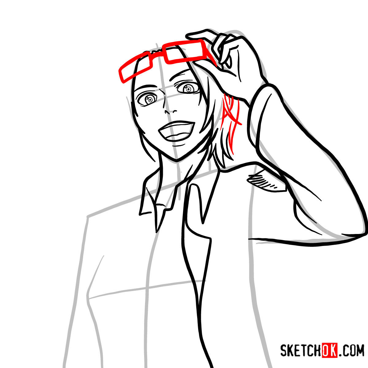 How to draw Hange Zoe   Attack on Titan - step 10