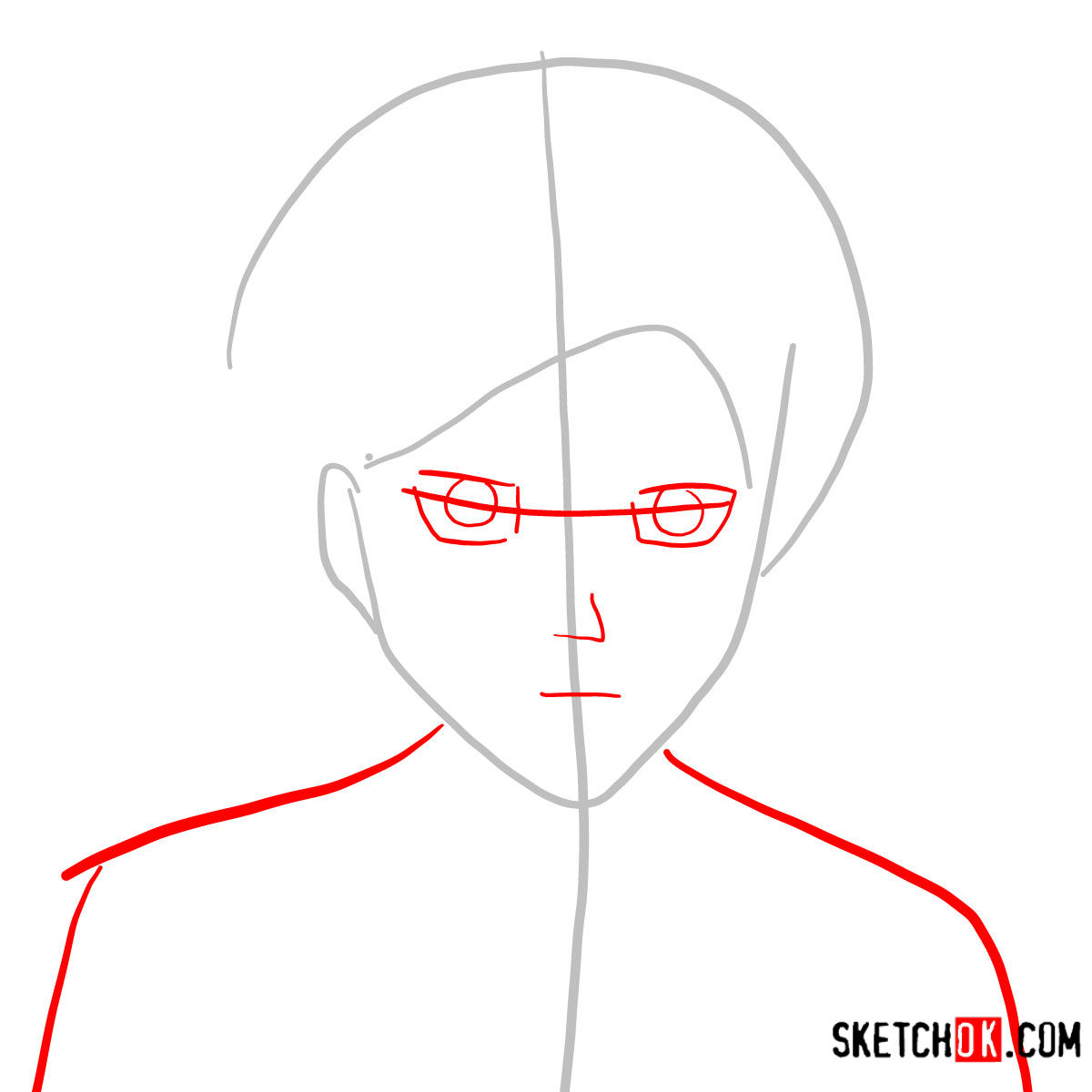How to draw Eren Jaeger's face | Attack on Titan - step 02