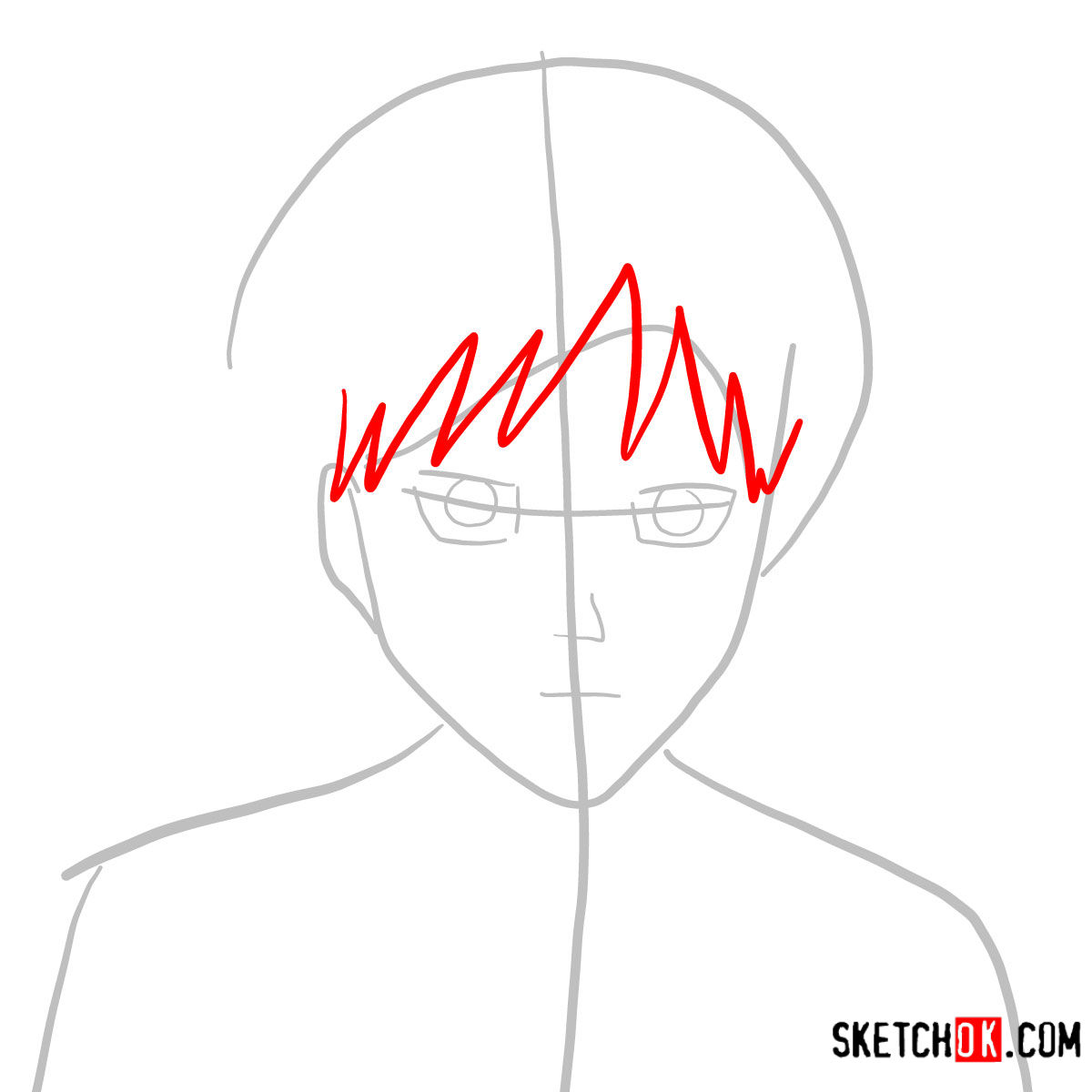 How to draw Eren Jaeger's face | Attack on Titan - step 03