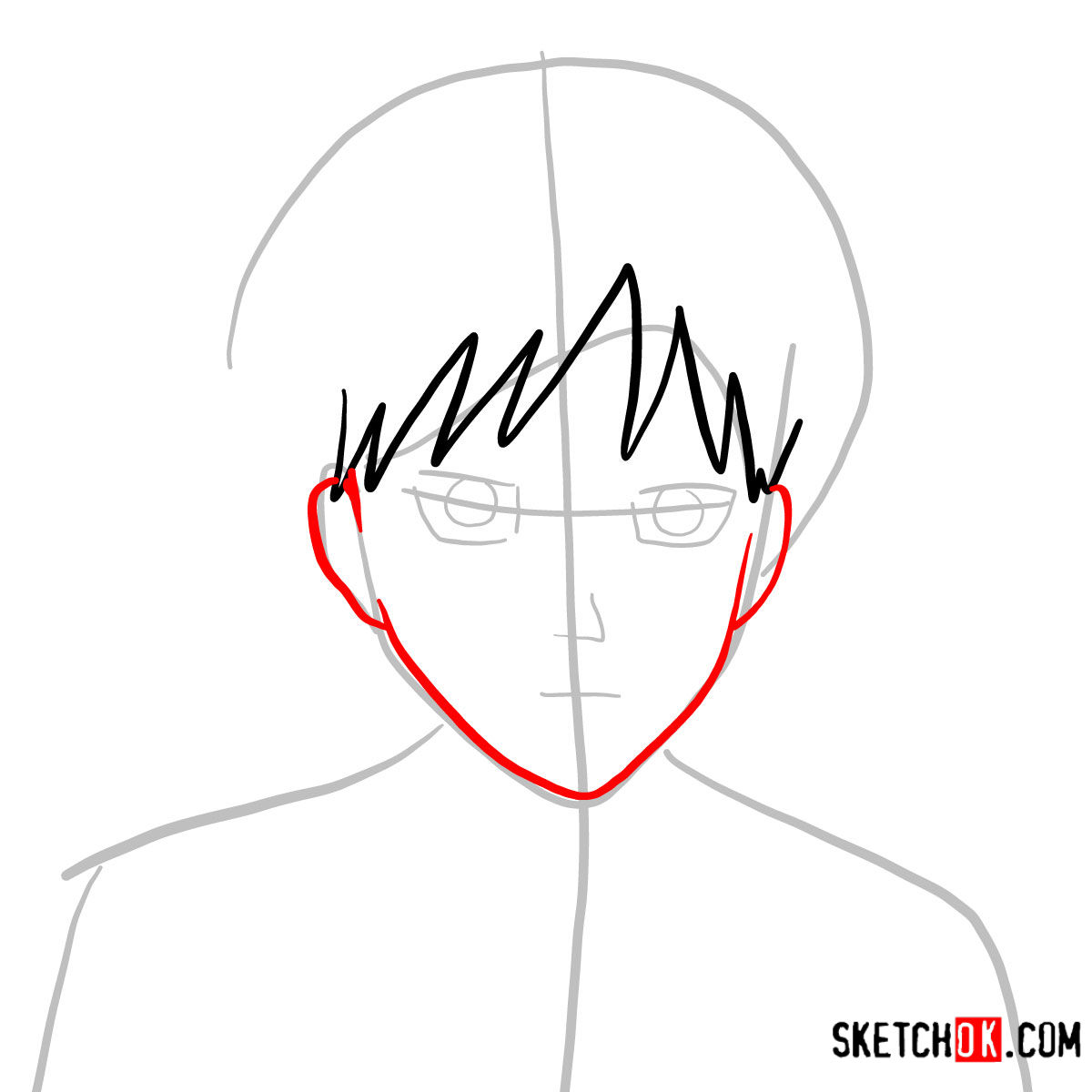 How to draw Eren Jaeger's face | Attack on Titan - step 04