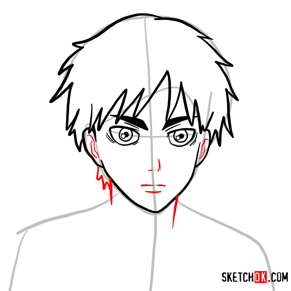 How to draw Eren Jaeger's face | Attack on Titan - step 07