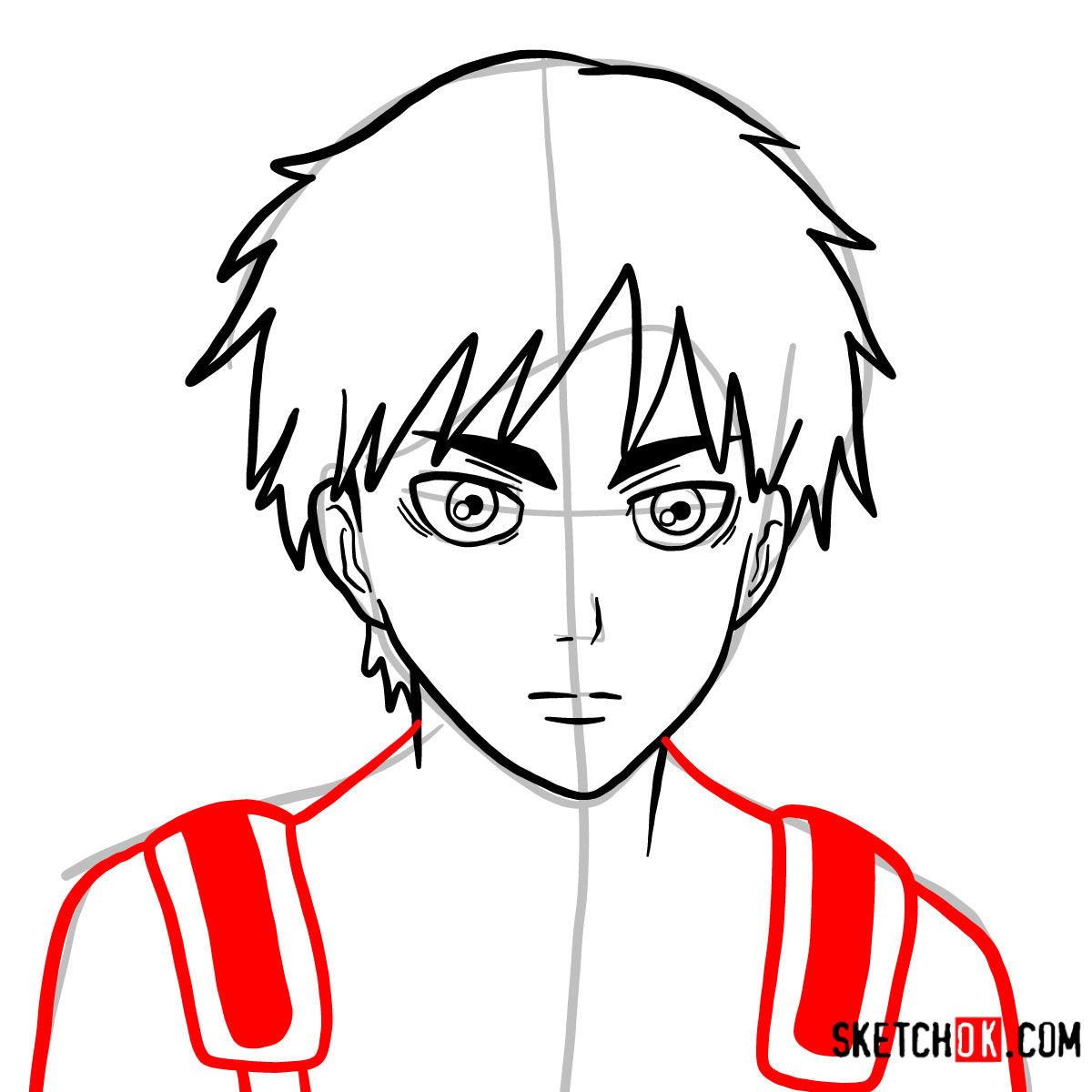 How to draw Eren Jaeger's face | Attack on Titan - step 08