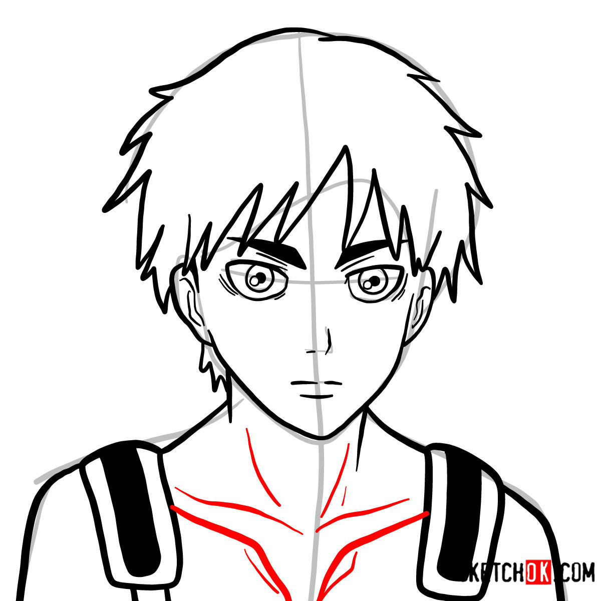 How to draw Eren Jaeger's face | Attack on Titan - step 09