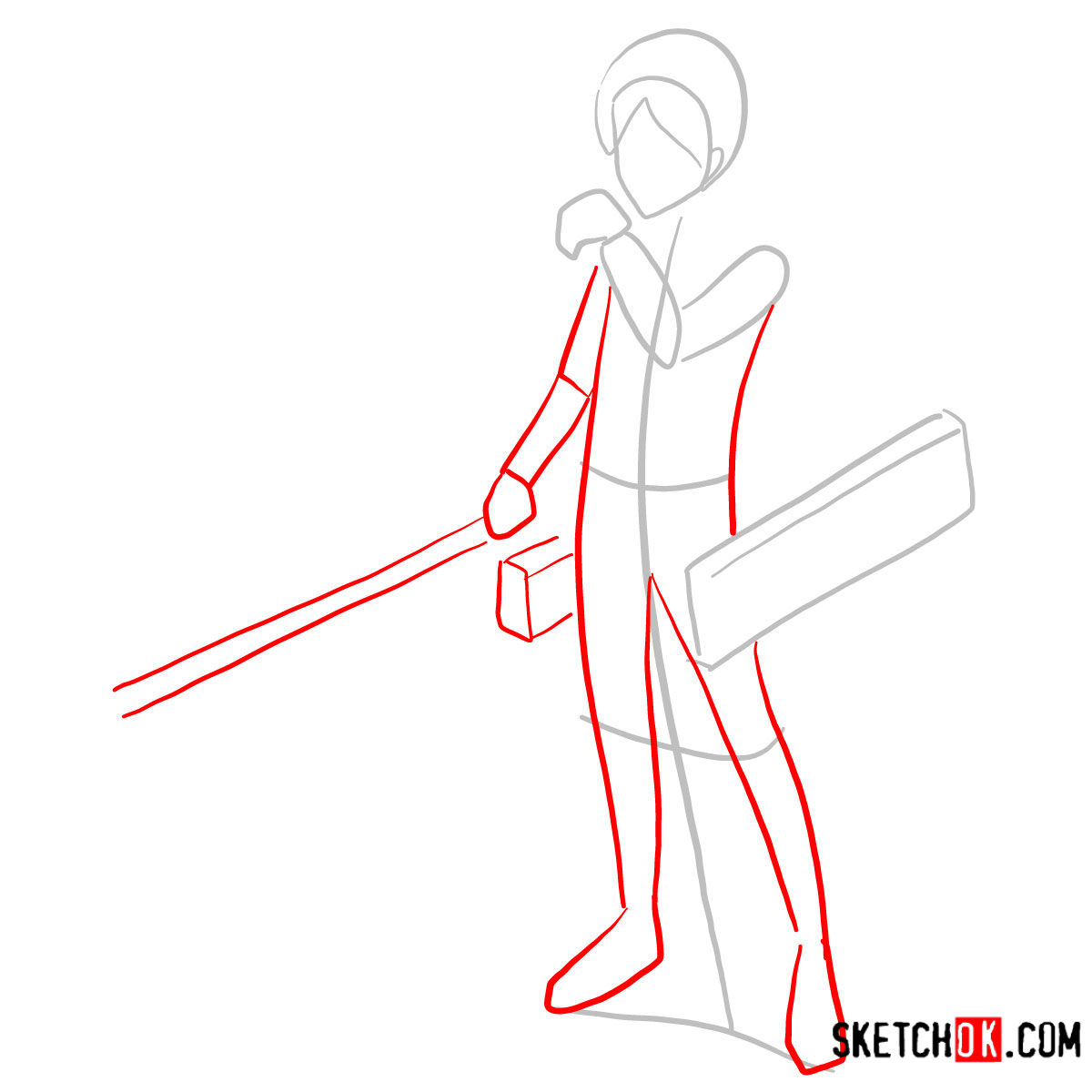 How to draw Eren Jaeger with his weapons | Attack on Titan - step 02