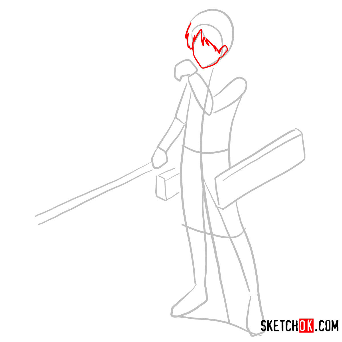 How to draw Eren Jaeger with his weapons | Attack on Titan - step 03