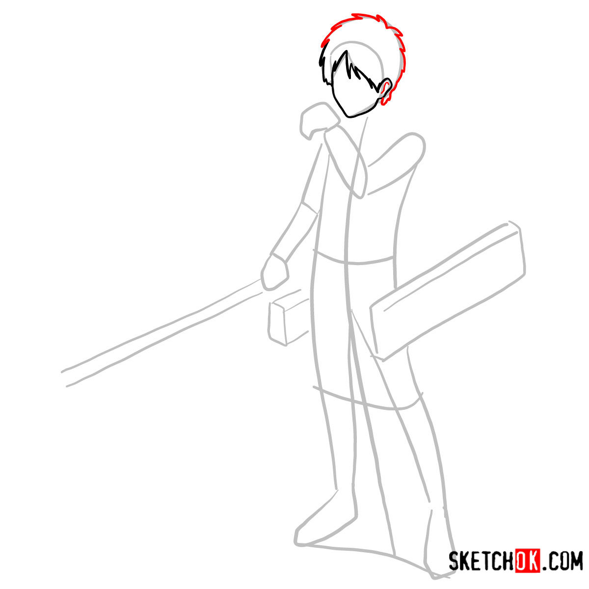 How to draw Eren Jaeger with his weapons | Attack on Titan - step 04