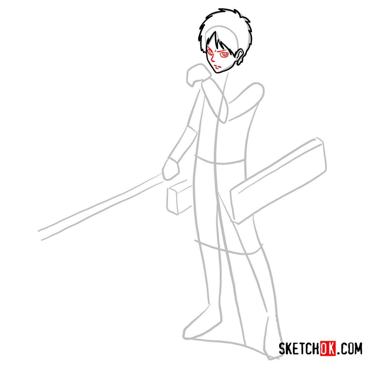 How to draw Eren Jaeger with his weapons | Attack on Titan - step 05