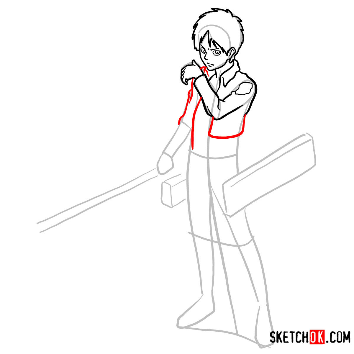 How to draw Eren Jaeger with his weapons | Attack on Titan - step 09