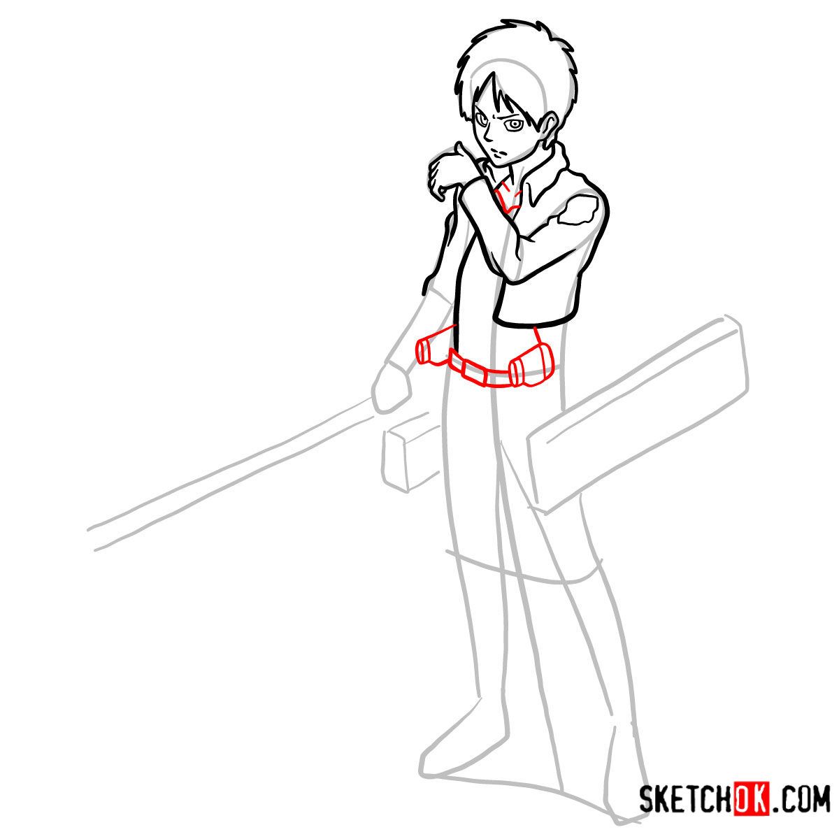 How to draw Eren Jaeger with his weapons | Attack on Titan - step 10
