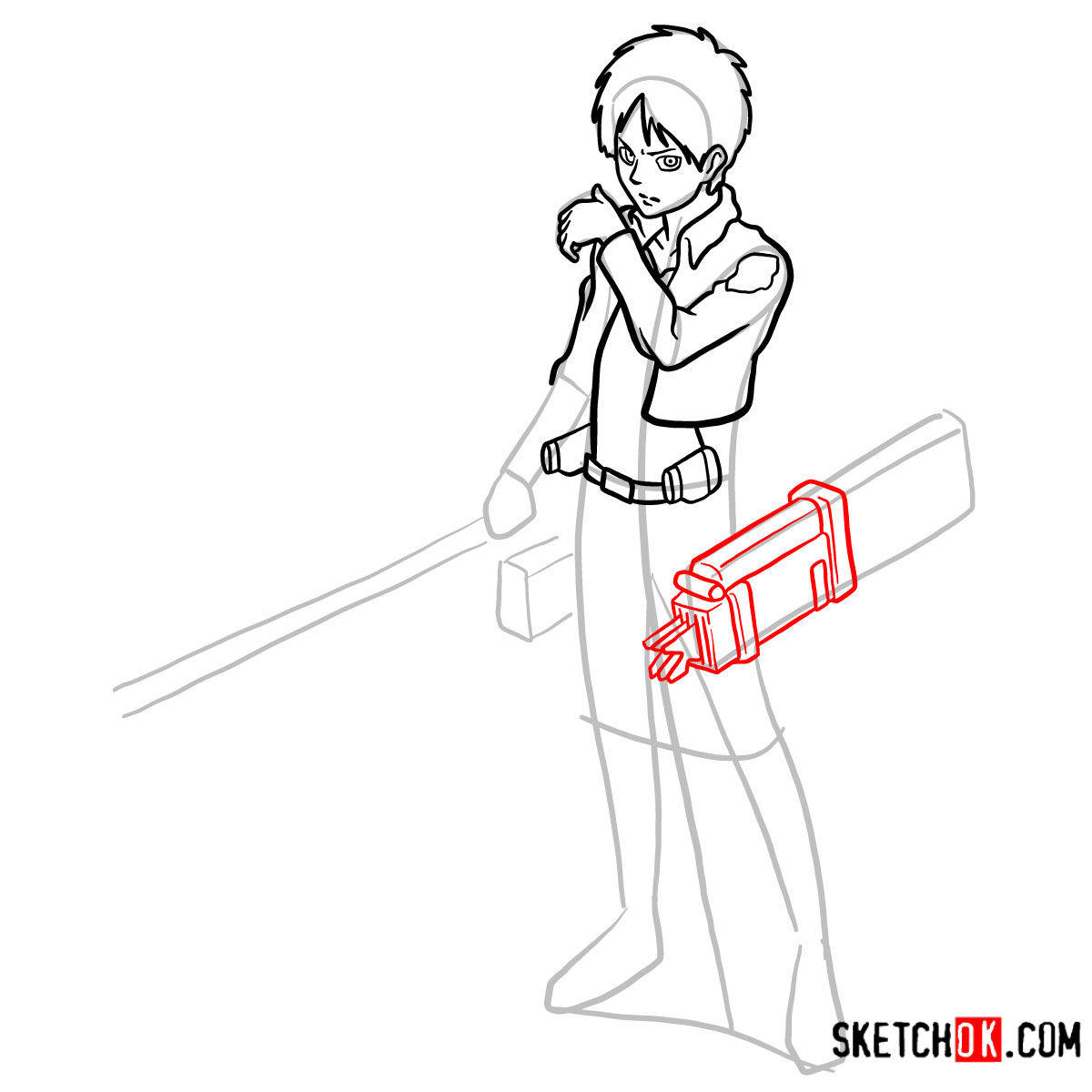 How to draw Eren Jaeger with his weapons | Attack on Titan - step 11