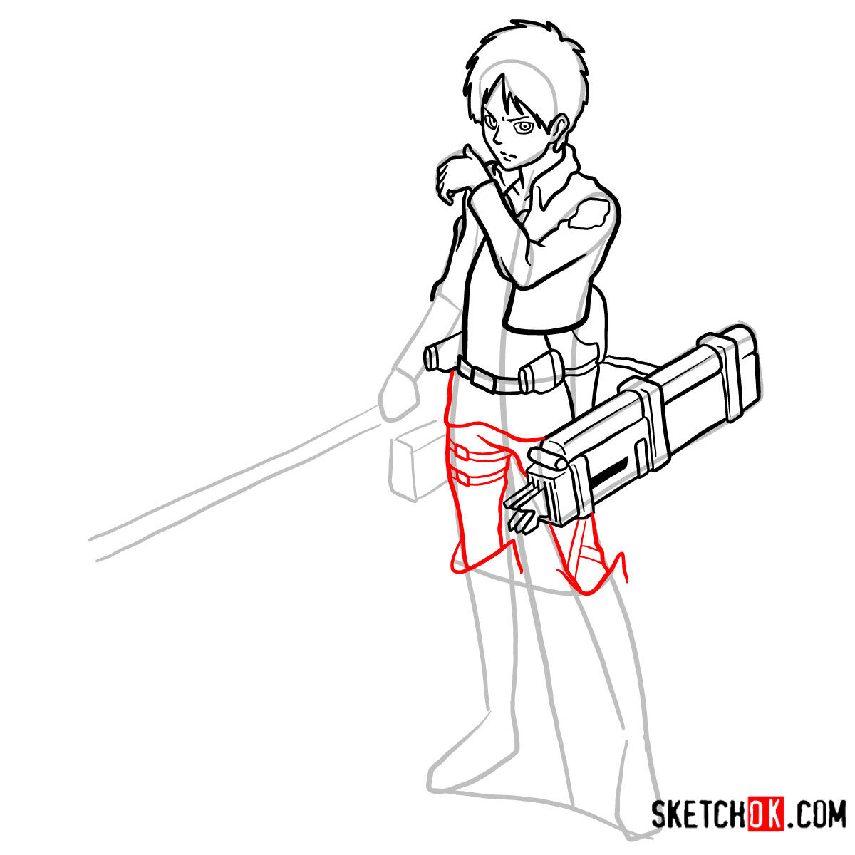 How to draw Eren Jaeger with his weapons | Attack on Titan - step 13
