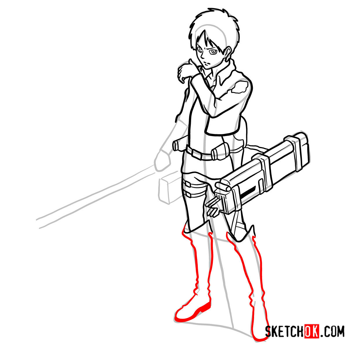 How to draw Eren Jaeger with his weapons | Attack on Titan - step 14