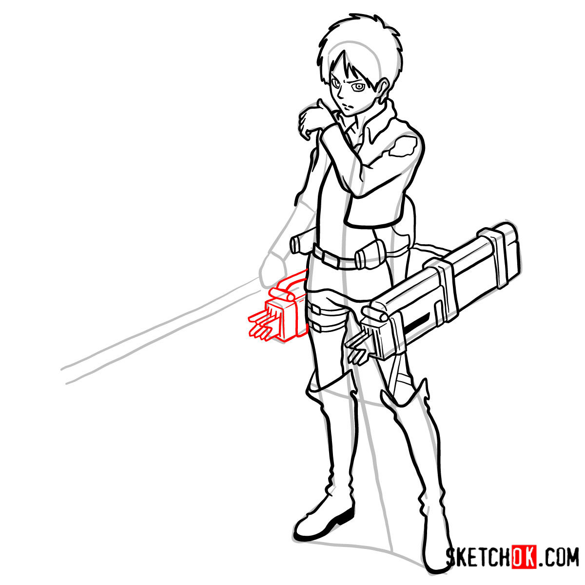 How to draw Eren Jaeger with his weapons | Attack on Titan - step 15