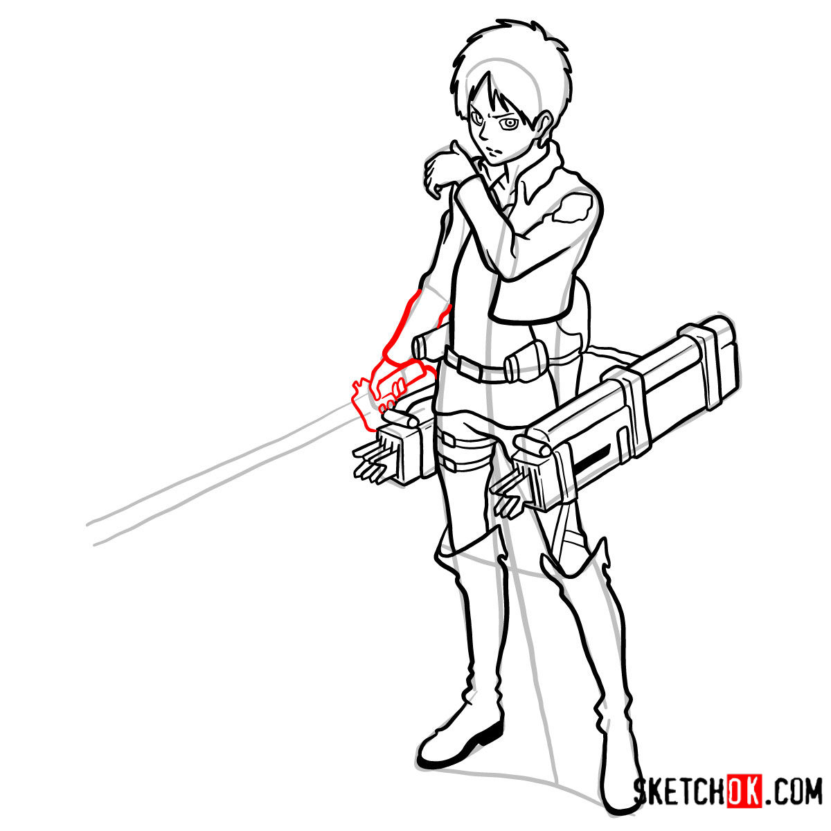 How to draw Eren Jaeger with his weapons | Attack on Titan - step 16