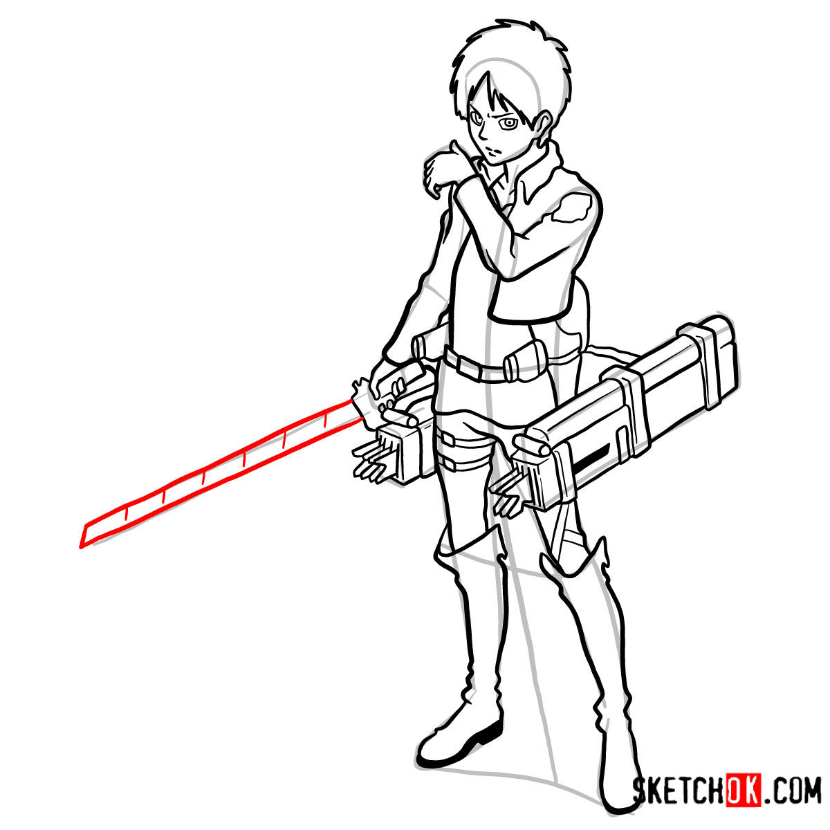 How to draw Eren Jaeger with his weapons | Attack on Titan - step 17