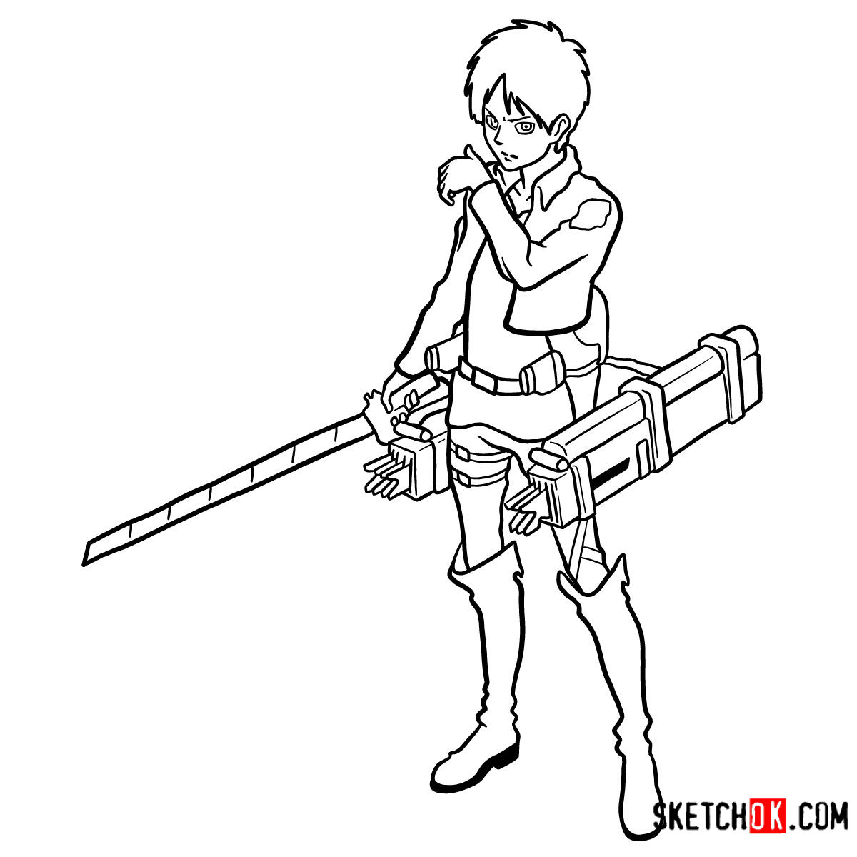 How to draw Eren Jaeger with his weapons