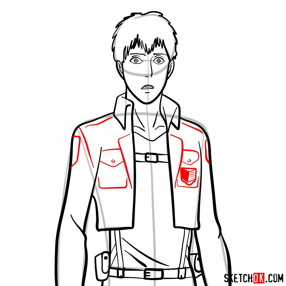 How to draw Bertholdt Hoover | Attack on Titan - step 09