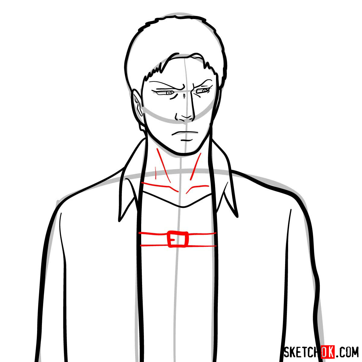 How to draw Reiner Braun | Attack on Titan - step 07