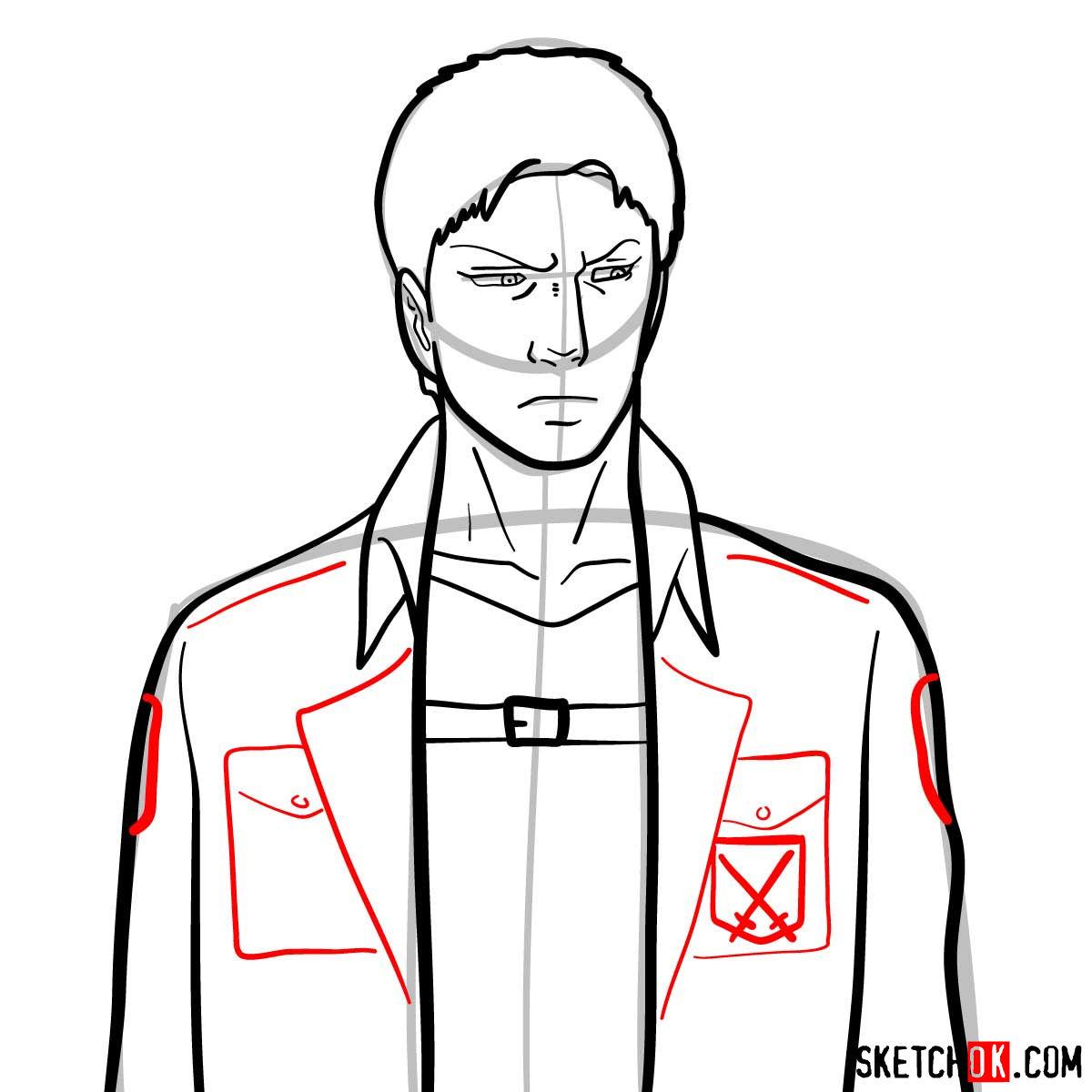 How to draw Reiner Braun | Attack on Titan - step 08