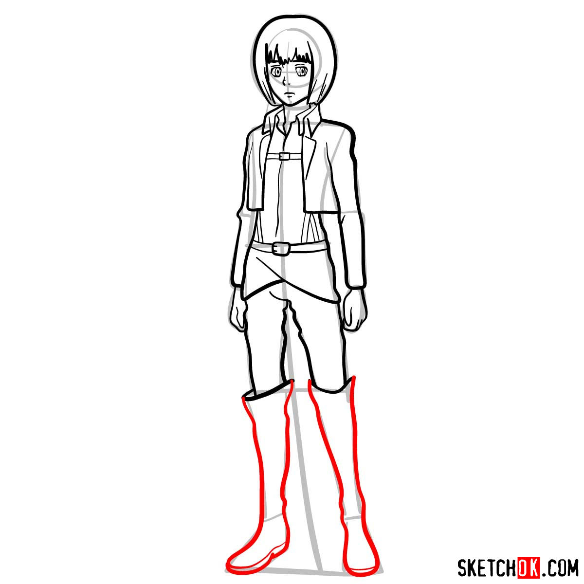How to draw Armin Arlert full growth - step 12