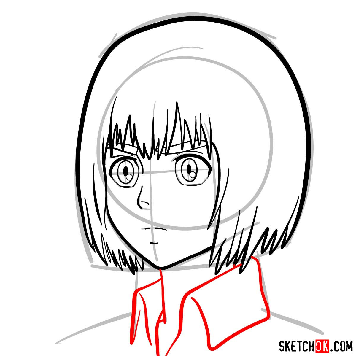 How to draw Armin Arlert's face - step 07
