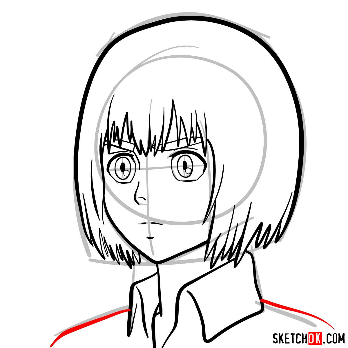 How to draw Armin Arlert's face - step 08