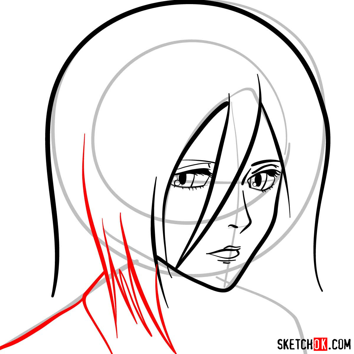 How to draw Mikasa Ackerman's face - step 06