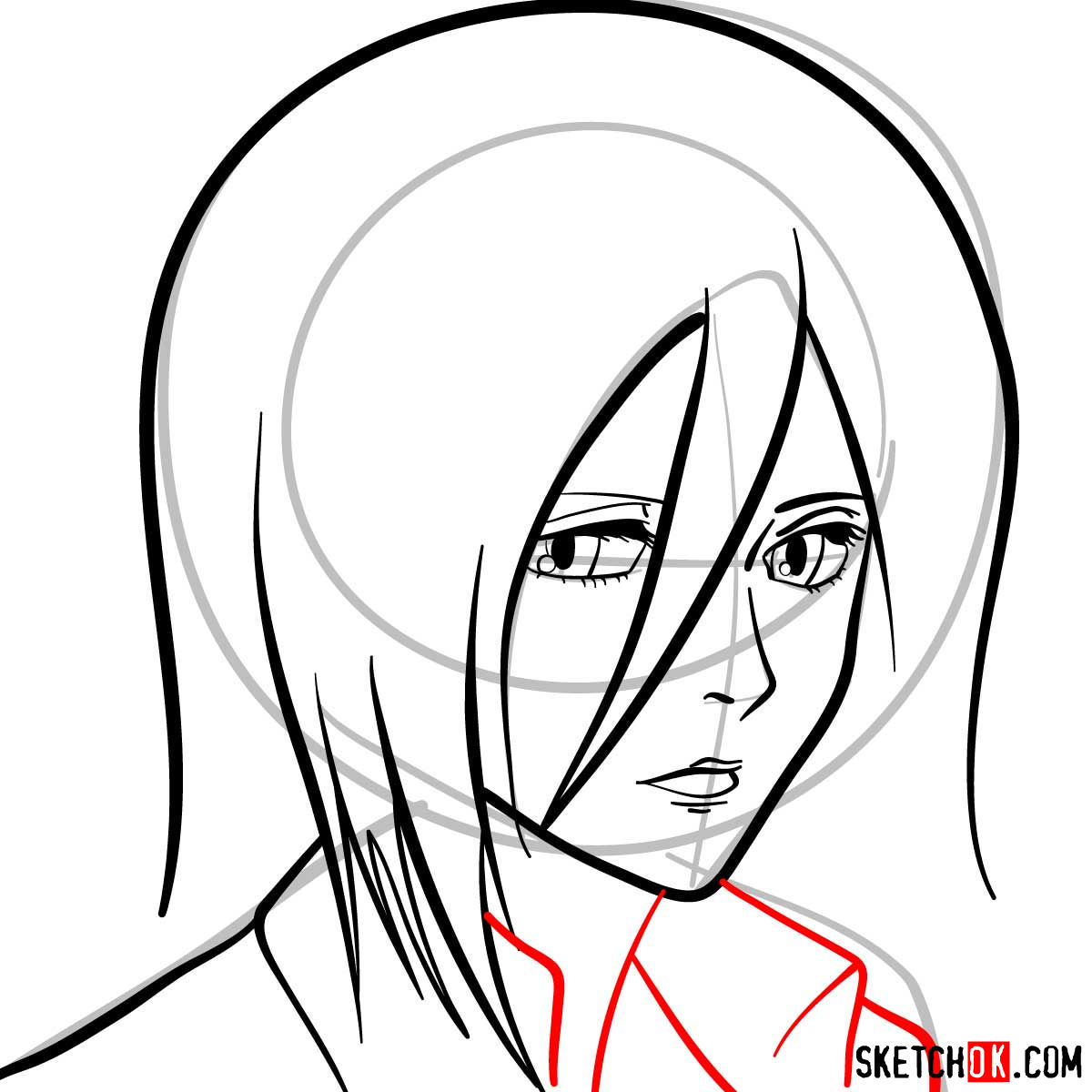 How to draw Mikasa Ackerman's face - step 07