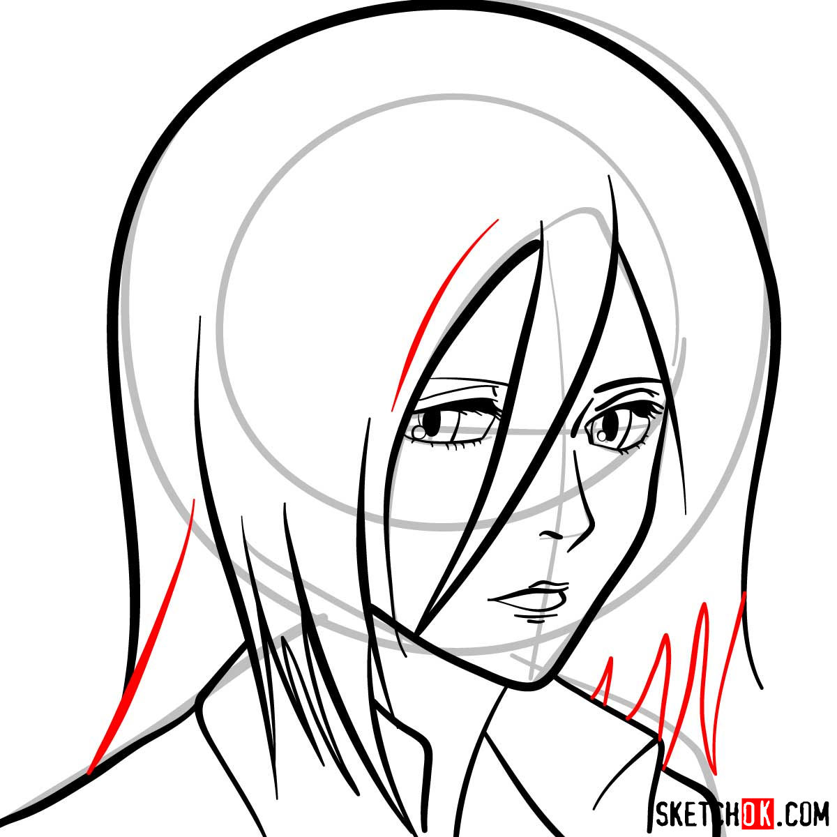 How to draw Mikasa Ackerman's face - step 08