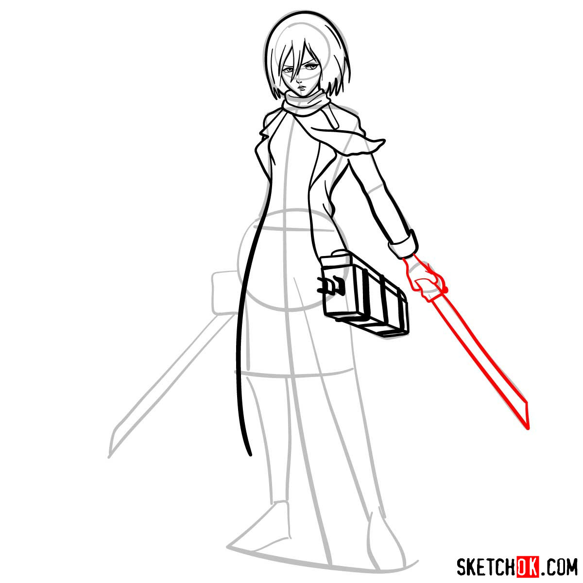How to draw Mikasa Ackerman with her weapons - step 10