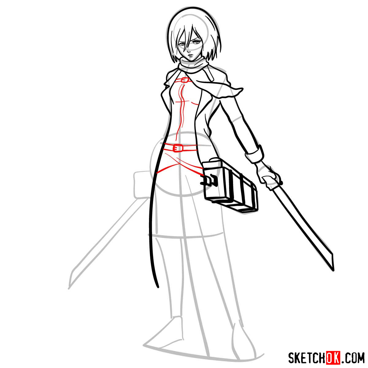 How to draw Mikasa Ackerman with her weapons - step 11