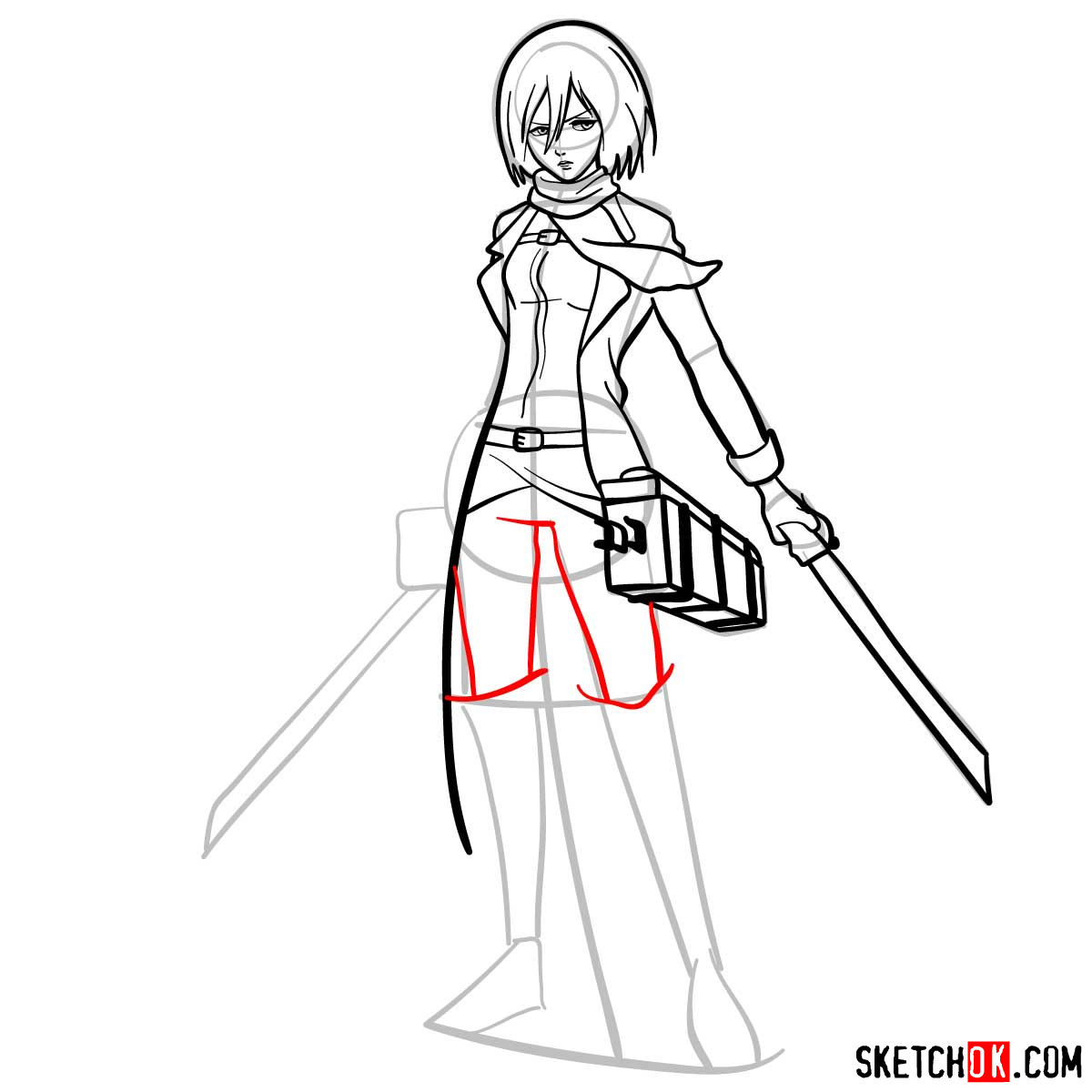 How to draw Mikasa Ackerman with her weapons - step 12