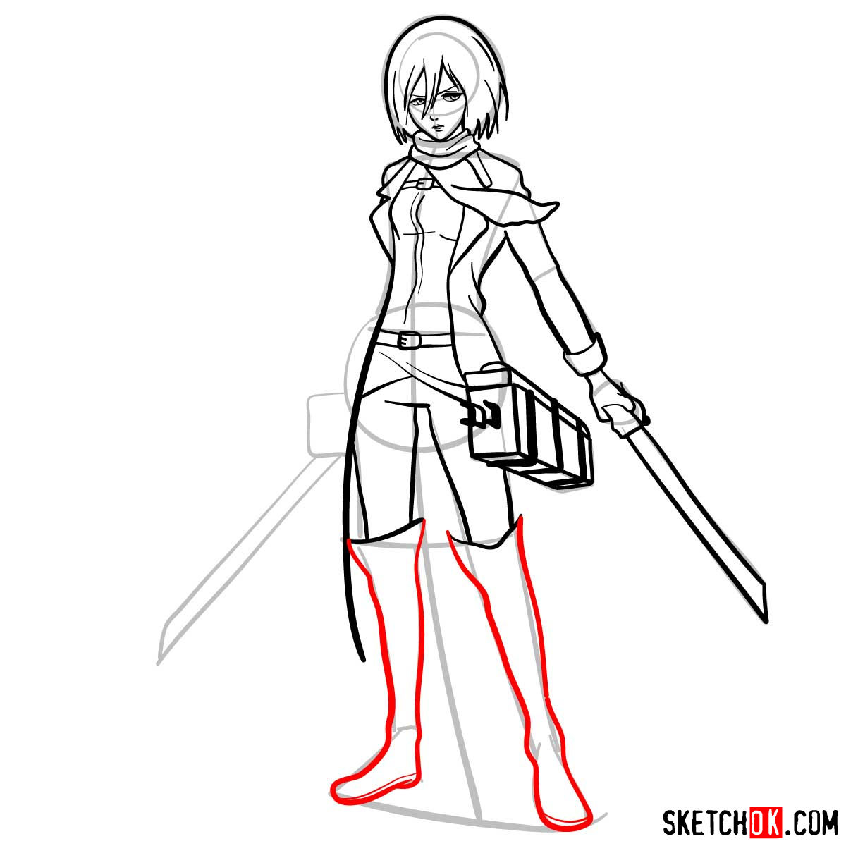 How to draw Mikasa Ackerman with her weapons - step 13