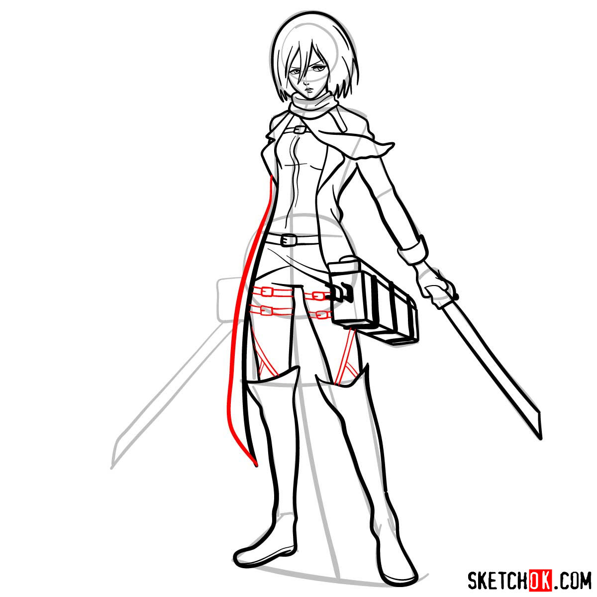 How to draw Mikasa Ackerman with her weapons - step 14