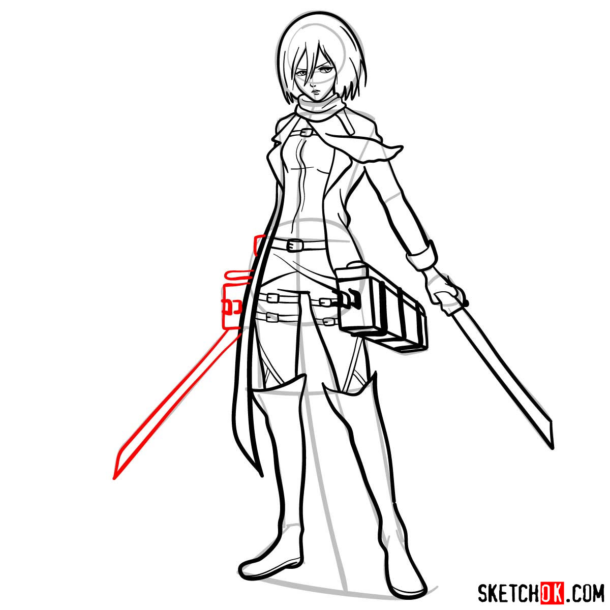 How to draw Mikasa Ackerman with her weapons - step 15