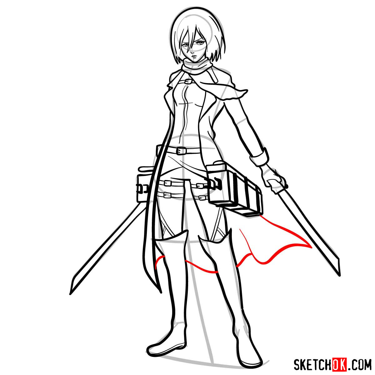 How to draw Mikasa Ackerman with her weapons - step 16