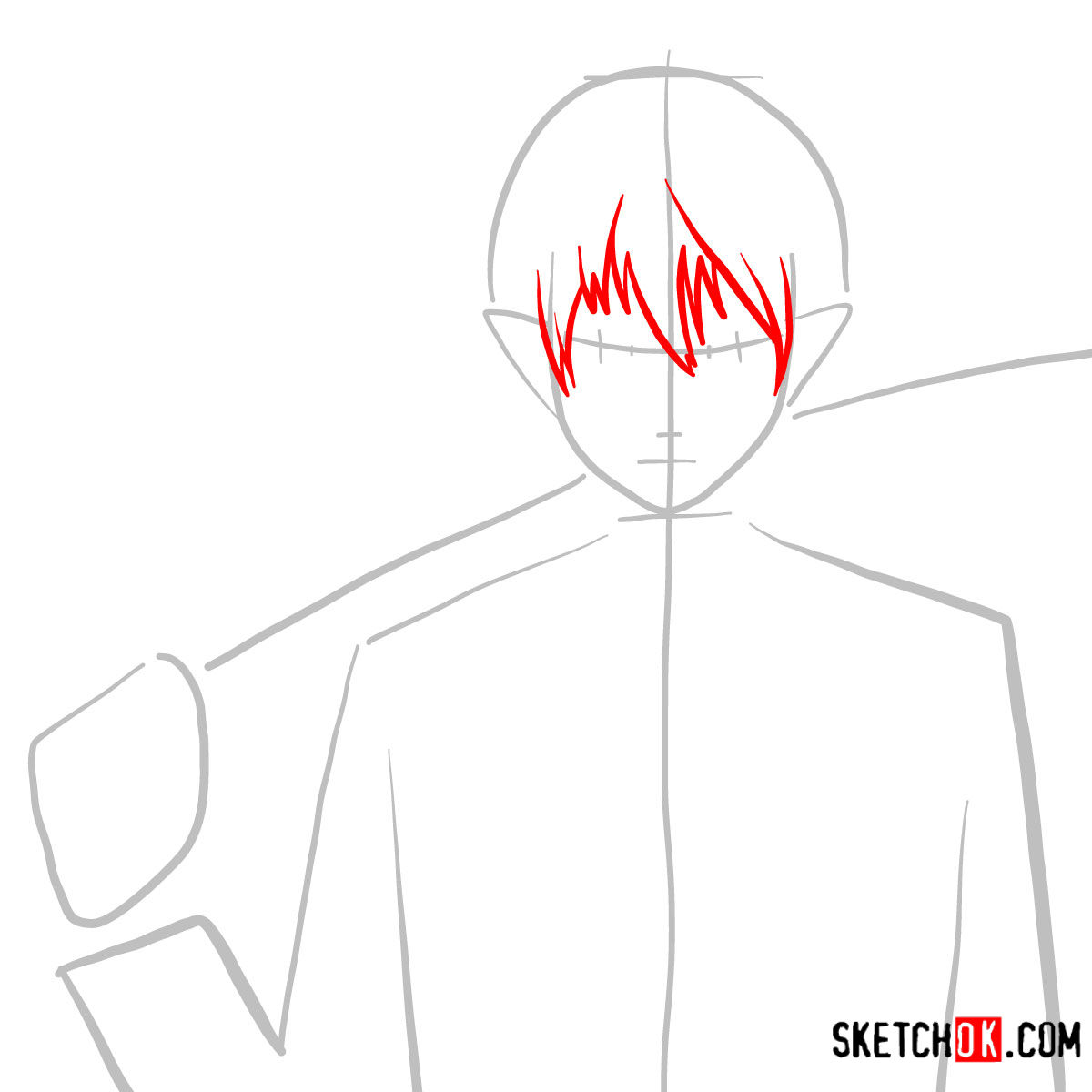 How to draw Yukio Okumura with a sword | Blue Exorcist - step 03