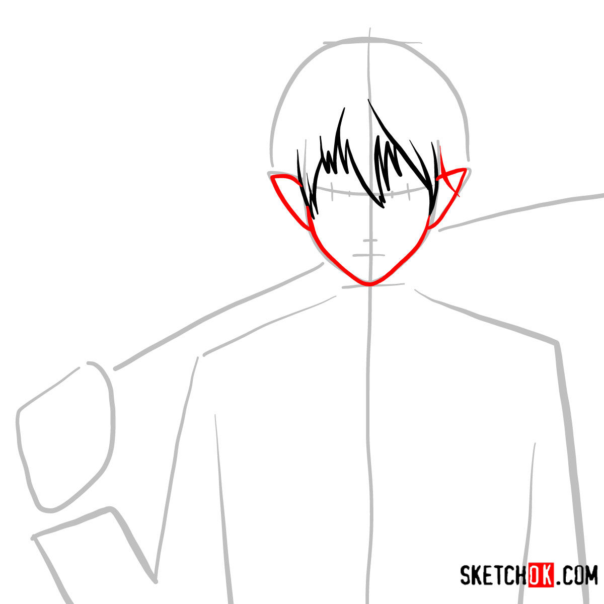 How to draw Yukio Okumura with a sword | Blue Exorcist - step 04