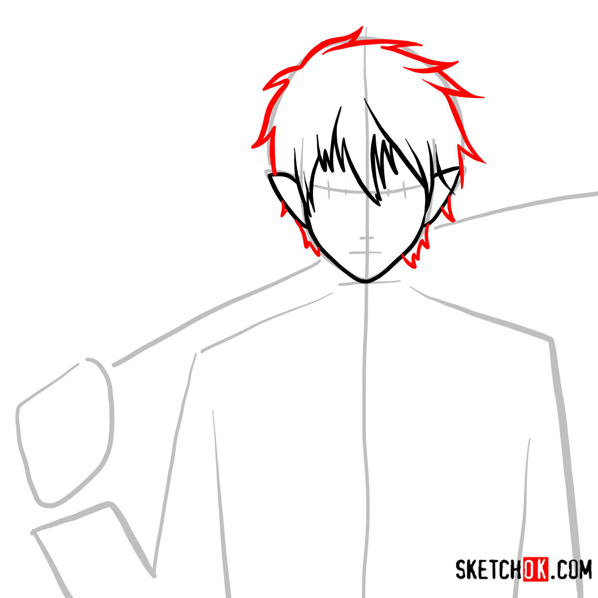 How to draw Yukio Okumura with a sword | Blue Exorcist - step 05