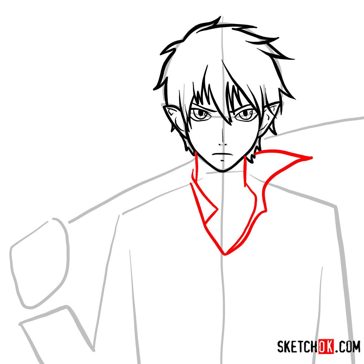 How to draw Yukio Okumura with a sword | Blue Exorcist - step 07