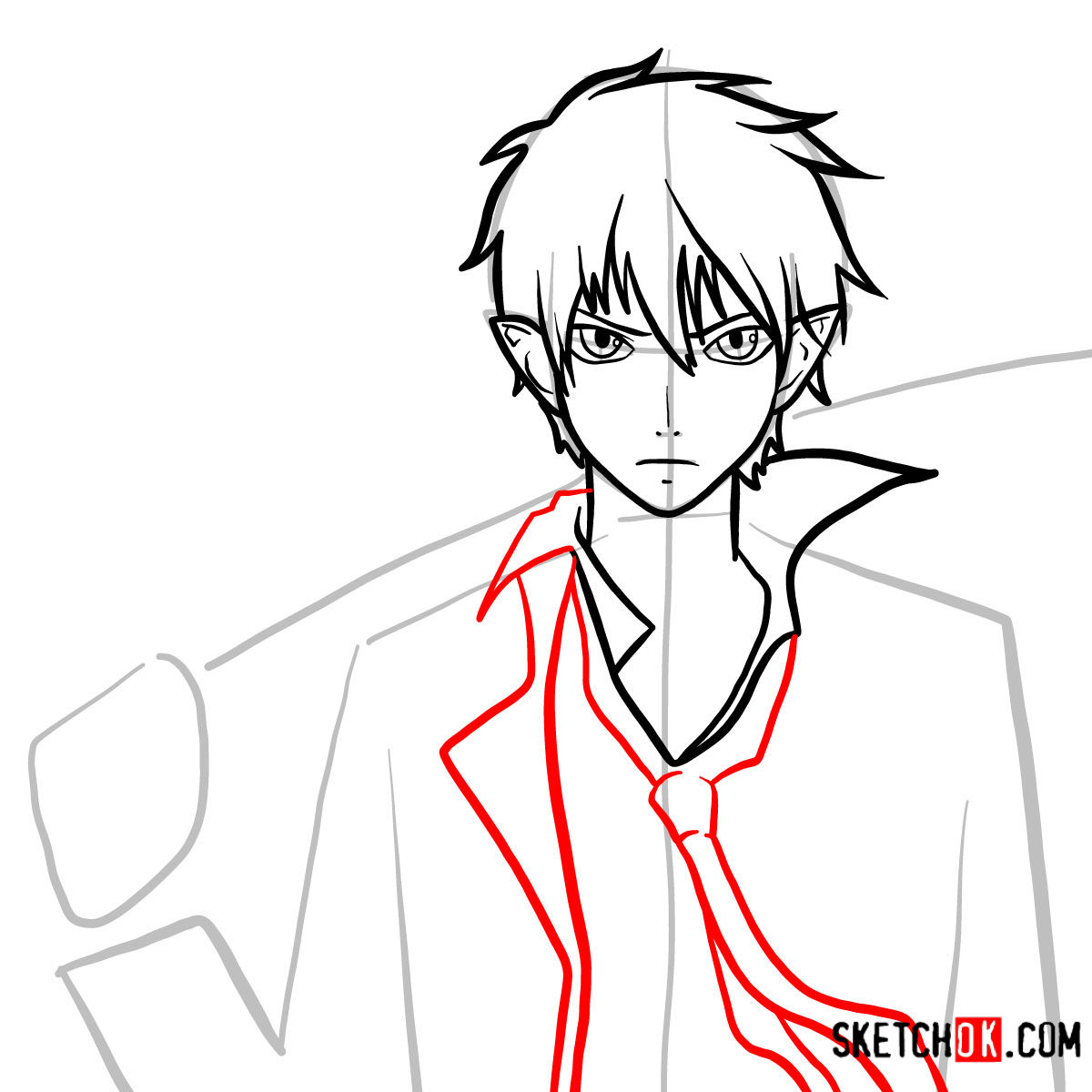 How to draw Yukio Okumura with a sword | Blue Exorcist - step 08